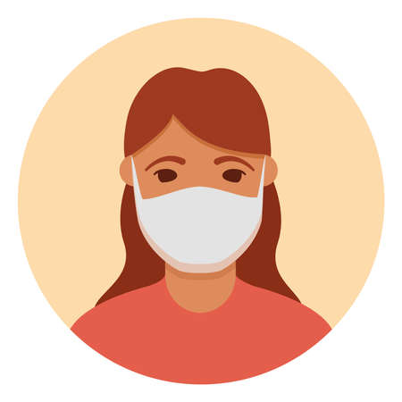 Woman in face mask to prevent  disease, flu, air pollution. 向量圖像