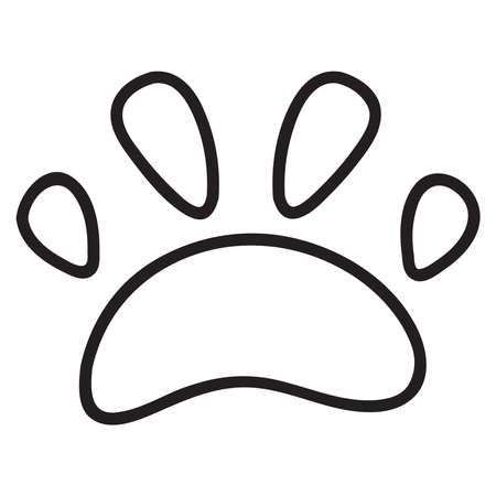 Dog footprint. Animal paw print.Isolated on white background.