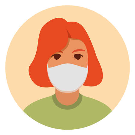 Woman in face mask to prevent disease, flu.