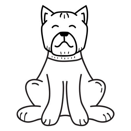 Bulldog is a breed of dog sit.Outline dog face icon.Isolated illustration.