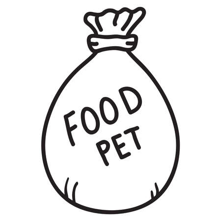 Dog food .Bag pet meal.Doodle sketch style vector illustration.