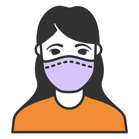 Woman in face mask to prevent disease .Black silhouette girl .