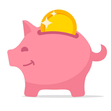 Piggy bank. Pink pig with gold coin . 向量圖像