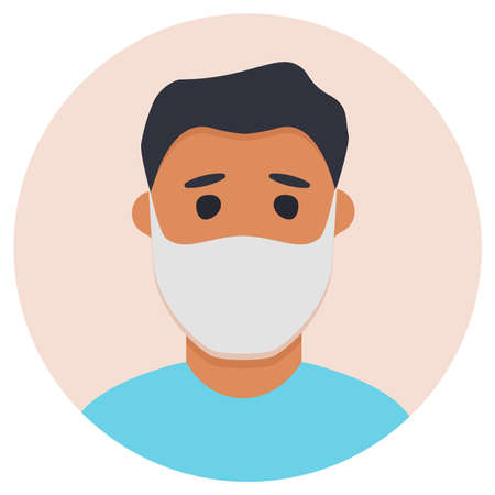 Man in face mask to prevent disease COVID-19. Vector flat . 向量圖像