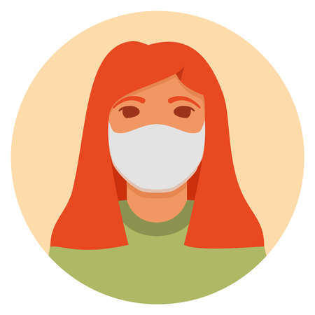 Woman in face mask to prevent disease .