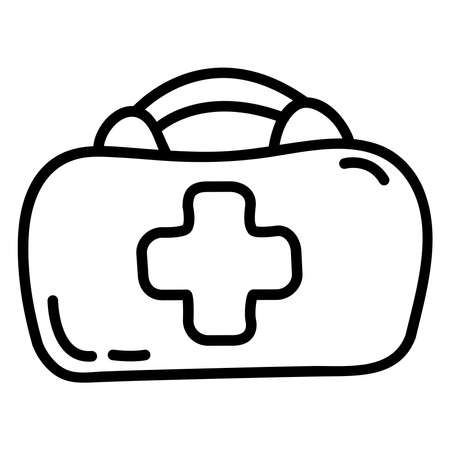 First aid kit doodle sketch style vector illustration.