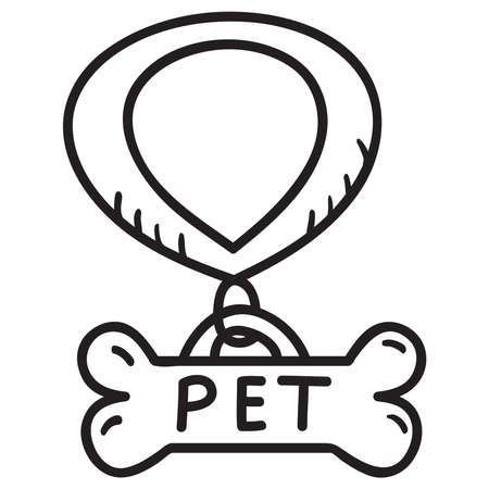 Dog collar badge bone shape. Outline vector illustration.