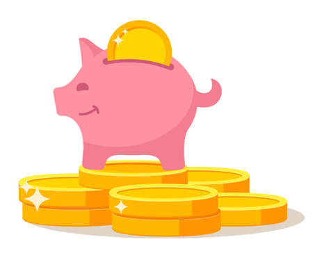 Piggy bank standing on coins stack dollar.Pink pig with gold coin .