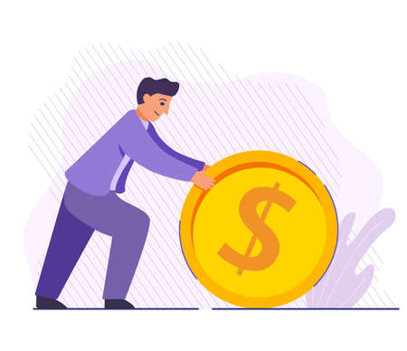 Businessman rolling coin. Investing money concept. Successful businessman pushing golden dollar.illustration. 向量圖像