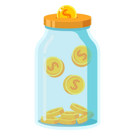 Save money in glass jar.Gold coins in moneybox. Income concept.