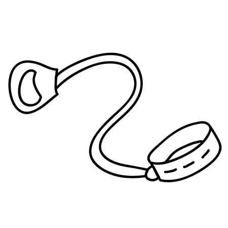 Dog collar and leash for animals .Outline vector illustration.