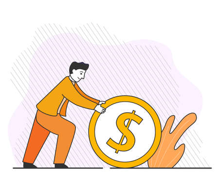 Businessman rolling coin . Investing money concept. Save money.