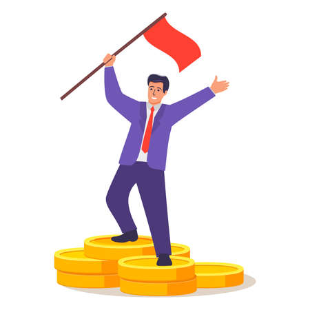Successful businessman standing on coins stack.Financier cartoon character. 向量圖像