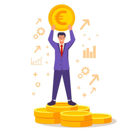 A successful rich businessman stands on a stack of gold coins. 向量圖像
