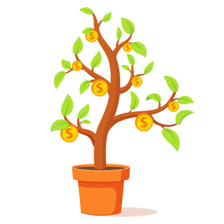 Growing money tree.Financial growth concept.Tree in flower pot.