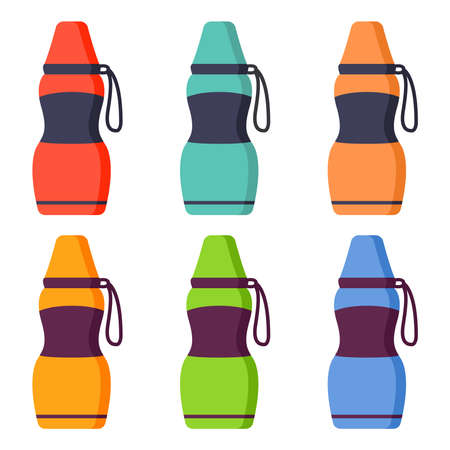 A set of drink container.Flask or bottle with hot drink.