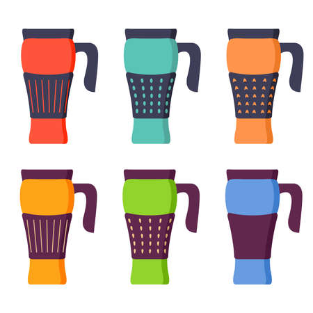 Tumblers with cover.Thermo mugs.Storage vessel with water for travel. 向量圖像