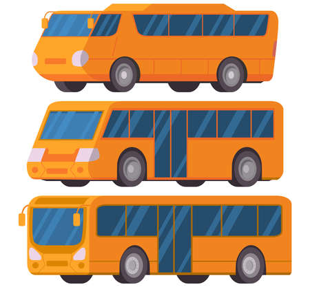 Yellow city bus. Vector illustration car flat style.Vehicle side view. 向量圖像