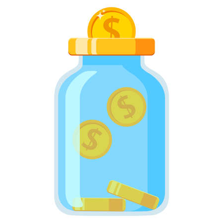 Save money in glass jar.Gold coins fall in moneybox. 向量圖像