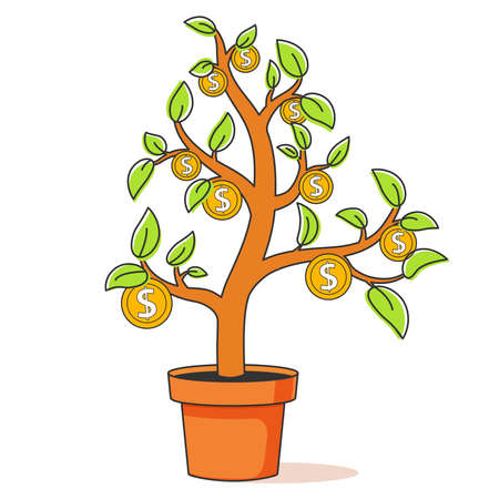 Growing money tree line art.Financial growth concept.