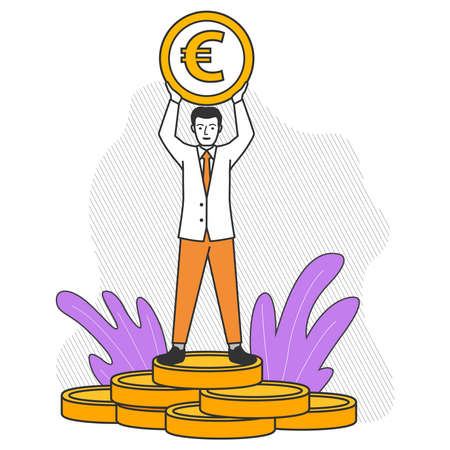 Rich businessman stands on a stack of gold coins.A man with a euro coin. 向量圖像