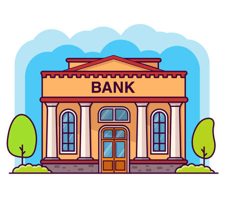 Bank building with columns. Flat cartoon style vector illustration.Government building.Financial house.