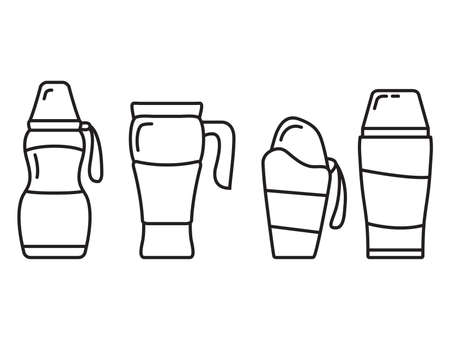 A set of drink containers.Flask or bottle with a hot drink.