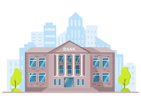 Bank building with columns. Vector illustration.Government building. 向量圖像
