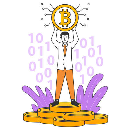 A successful rich businessman stands on a stack of coins.A man holds in hand bitcoin. 向量圖像