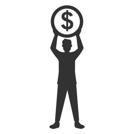 Black silhouette businessman holding a coin dollar sign.