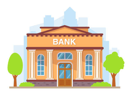 Bank building with columns. Flat style vector illustration.Government building.Financial house.Building facade.