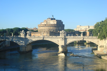 tiber: The Tiber River and Castle SantAngelo Rome Stock Photo