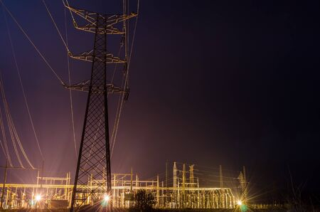 electrical tower: view electrical tower at night Valencia, Spain Stock Photo
