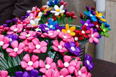 imitations: Bouquet with batterflies made from jelly candies in market