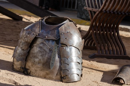 hauberk: Armour of the medieval knight. Metal protection of the soldier against the weapon of the opponent