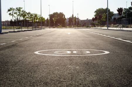 the a lot of: Empty parking lot ,Parking lane outdoor in public park