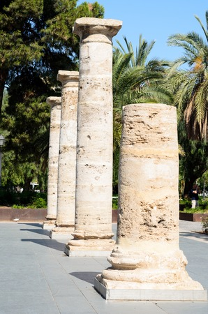 roman pillar: Detail in prospective of Roman columns, Valencia