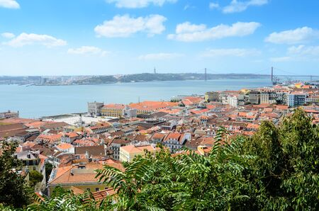 jorge: Aerial view of Lisbon from Sao Jorge Castle, Portugal, Europe Stock Photo