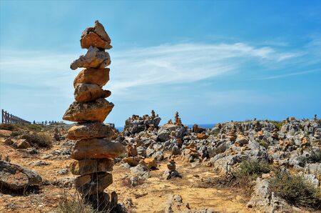 made in portugal: View of stone pillars made by people, Sagres, Algarve region, Portugal Stock Photo