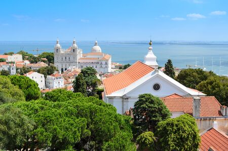 Aerial view of Lisbon from Sao Jorge Castle, Portugal, Europe Stock Photo