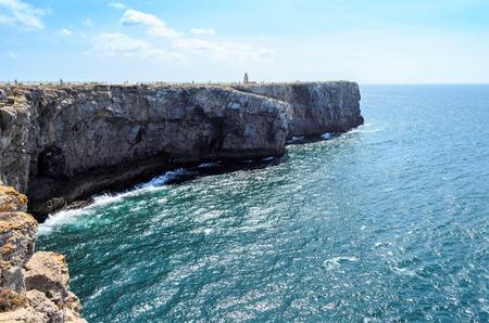 region of algarve: View of Cabo Sao Vicente lighthouse, Sagres, Algarve region, Portugal Stock Photo