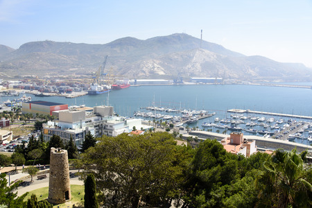 naval: Home Spanish naval base with a comfortable deep bay. Stock Photo