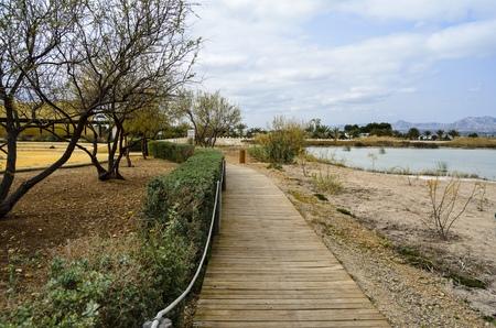 Wooden walkway in Spain Stock Photo