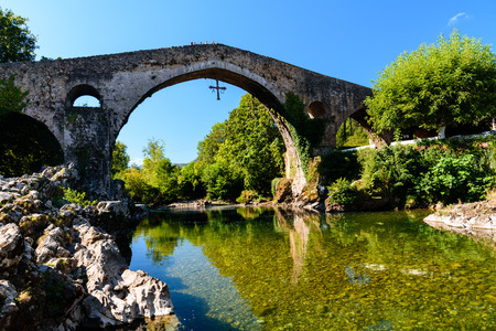 Old Roman stone bridge Stock Photo