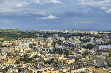 View over the city of Victoria Rabat at Gozo, the neighboring island of Malta