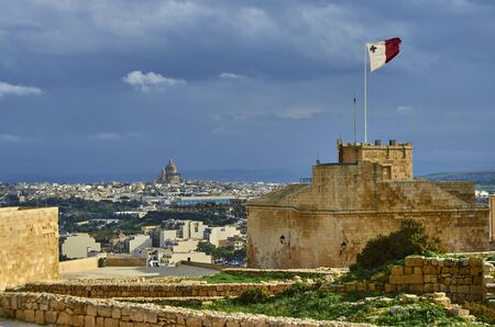 View over the city of Victoria at Gozo, the neighboring island of Malta