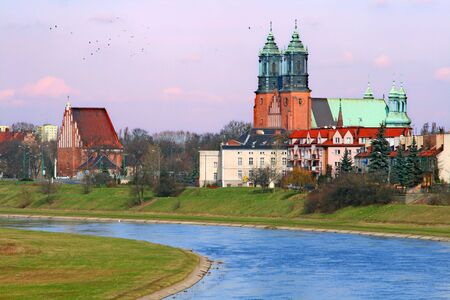 The cathedral church and river in the center of city Stock Photo