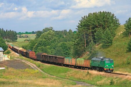 Summer landscape with the freight train Stock Photo