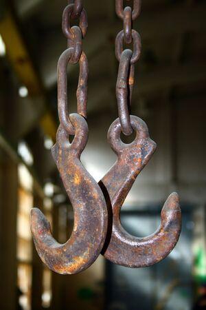 Crane hooks close up photo