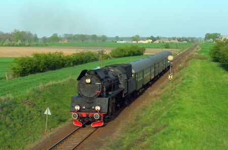 Steam retro train passing the countryside